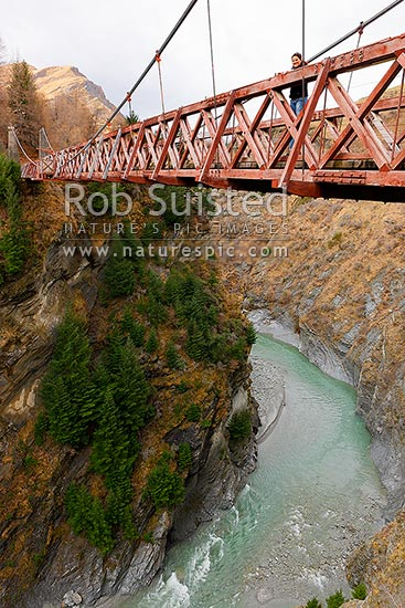 Historic Skippers Bridge over the Shotover River gorge (96 m long, 90 m high, the 1901 Skippers suspension bridge), Queenstown, Queenstown Lakes District, Otago Region, New Zealand (NZ) stock photo.