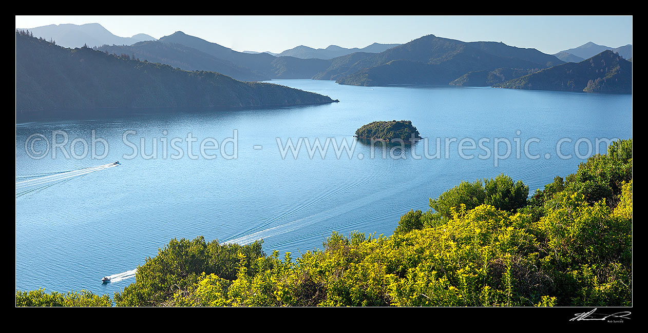 Image of Queen Charlotte Sound in the Marlborough Sounds. Wedge Point, Grove Arm and Mabel Island centre, with powerboat heading for Picton. Panorama, Picton, Marlborough Sounds, Marlborough District, Marlborough Region, New Zealand (NZ) stock photo image