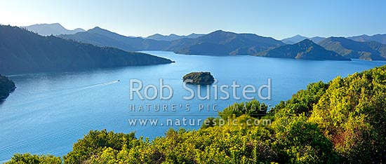 Queen Charlotte Sound in the Marlborough Sounds. Wedge Point, Grove Arm and Mabel Island centre, with powerboat heading out from Picton. Panorama, Picton, Marlborough Sounds, Marlborough District, Marlborough Region, New Zealand (NZ) stock photo.