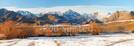 Molesworth Station winter panorama with Inland Kaikoura Ranges and Turks Head (1958m) centre, Molesworth Station, Marlborough District, Marlborough Region, New Zealand (NZ) stock photo.