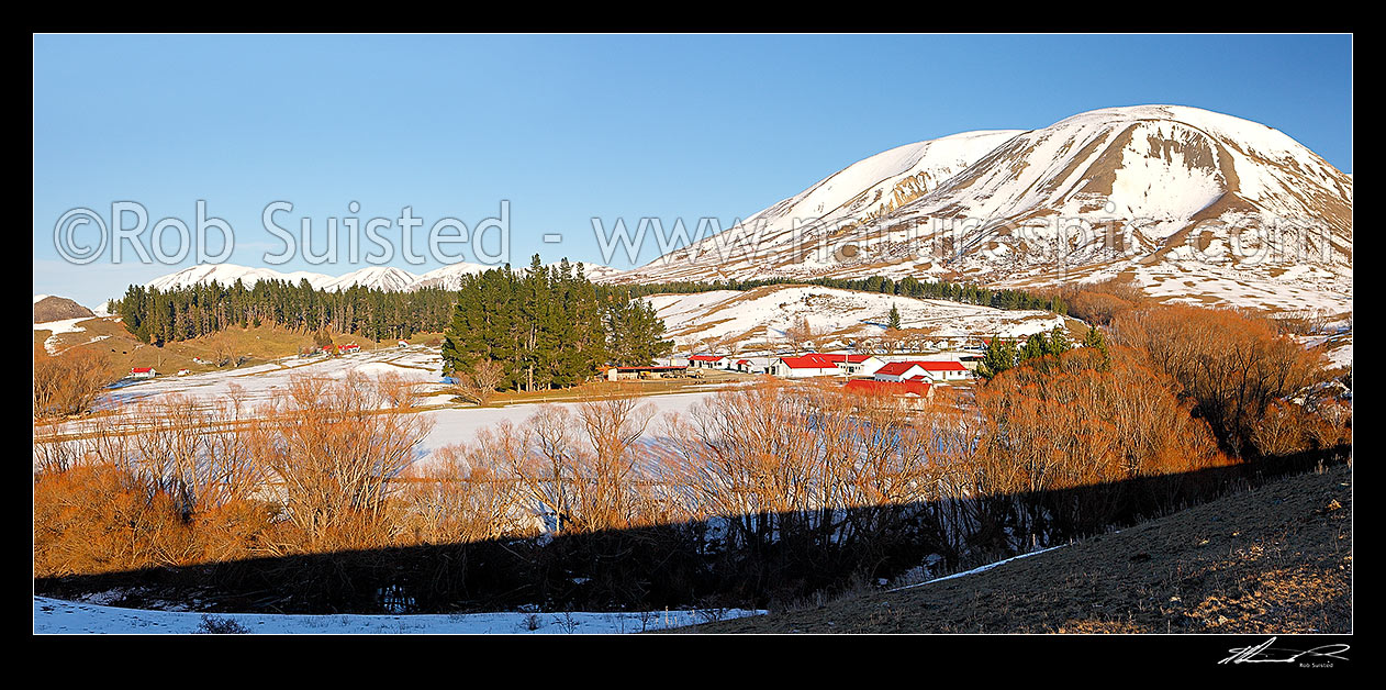 Image of Molesworth Station buildings under Mount Chisholm in winter. Panorama, Molesworth Station, Marlborough District, Marlborough Region, New Zealand (NZ) stock photo image