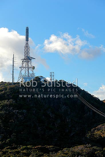 Television and radio transmitters on Sewell Peak (831m) and Paparoa Peak, on the Paparoa Range, Greymouth, Grey District, West Coast Region, New Zealand (NZ) stock photo.
