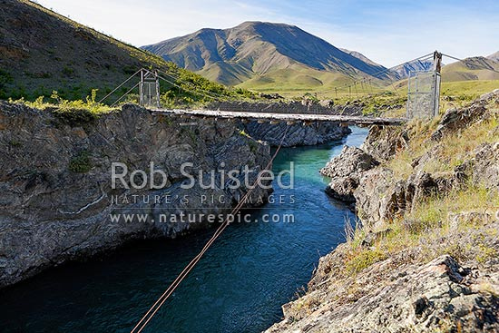 Historic Students' Suspension Bridge over the Acheron River gorge, built 1944 by Canterbury University engineering students, Molesworth Station, Marlborough District, Marlborough Region, New Zealand (NZ) stock photo.
