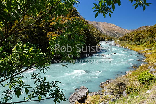 Wairau River rapids on the Rainbow Station Road (Wairau - Hanmer Springs Hydro Road), Wairau, Marlborough District, Marlborough Region, New Zealand (NZ) stock photo.