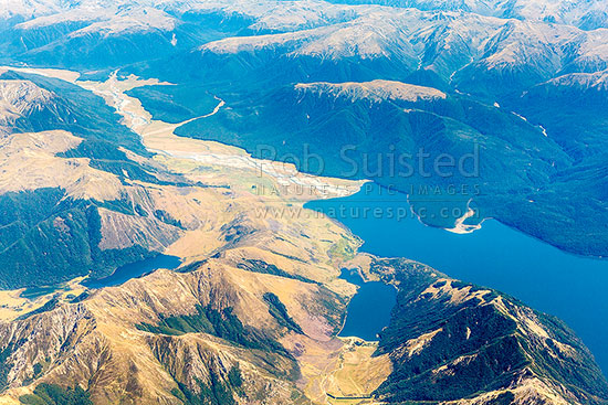 Lake Sumner Forest Park from the Air. Lake Mason (Ieft), Lake Katrine, and Lake Sumner (right), Hurunui River and McMillan Stream top left, Lake Sumner, Hurunui District, Canterbury Region, New Zealand (NZ) stock photo.