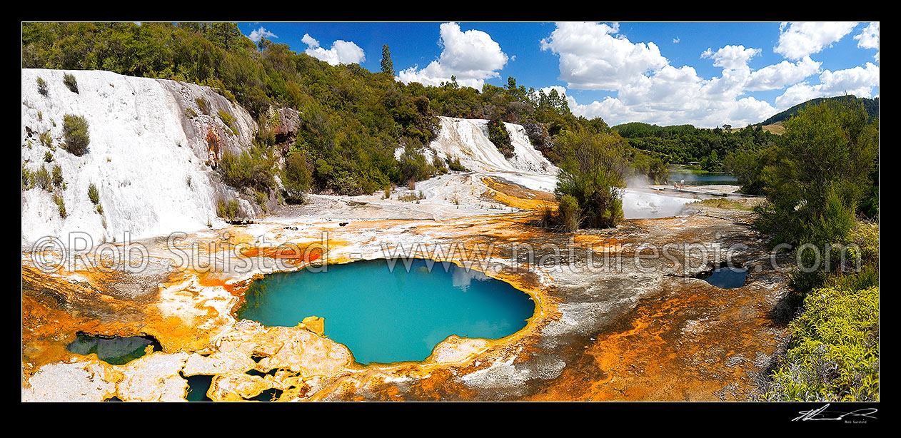 Image of Geothermal Rainbow and Cascade terraces at the Orakei Korako cave and thermal park - the Hidden Valley, Lake Ohakuri, Rotorua, Rotorua District, Bay of Plenty Region, New Zealand (NZ) stock photo image