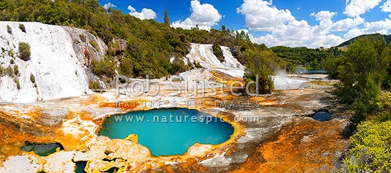 Geothermal Rainbow and Cascade terraces at the Orakei Korako cave and thermal park - the Hidden Valley, Lake Ohakuri, Rotorua, Rotorua District, Bay of Plenty Region, New Zealand (NZ) stock photo.