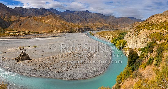 Clarence River and valley with the Haycock and Seaward Kaikoura Ranges beyond. Murderer's Stream left, Williams and Boundary Stream centre. Panorama, Muzzle Station, Marlborough District, Marlborough Region, New Zealand (NZ) stock photo.