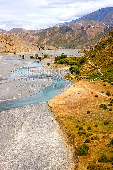 Clarence River looking upstream from near Dart Stream, towards Ravine Hut, Muzzle Station, Kaikoura District, Canterbury Region, New Zealand (NZ) stock photo.