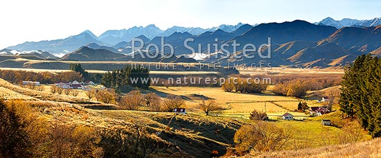 Molesworth Station panorama on a calm autumn morning below the Inland Kaikoura Ranges and Mt Tapuae-o-Uenuku (2885m), Molesworth Station, Marlborough District, Marlborough Region, New Zealand (NZ) stock photo.