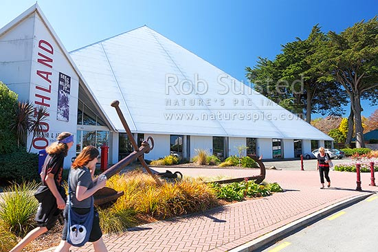 Southland Museum and Art Gallery, distinctive pyramid shaped building. Niho o te Taniwha, Invercargill, Invercargill District, Southland Region, New Zealand (NZ) stock photo.
