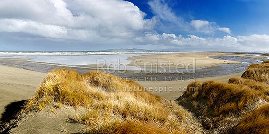 Oreti Beach and sand dunes at Waimatuku Stream mouth, between Invercargill and Riverton. Panorama, Oreti Beach, Southland District, Southland Region, New Zealand (NZ) stock photo.