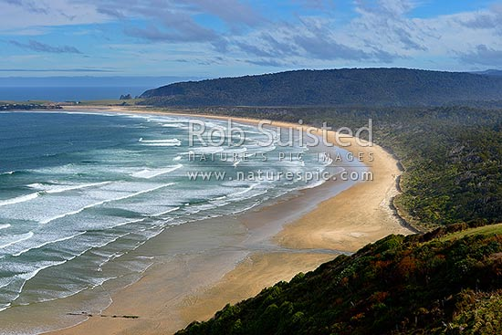 Tautuku Beach and Peninsula panorama from Florence Hill lookout, Catlins, Clutha District, Otago Region, New Zealand (NZ) stock photo.