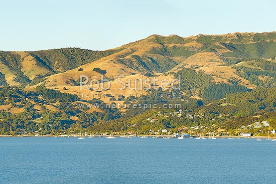 Akaroa township seen from the harbour. Banks Peninsula, Akaroa, Christchurch City District, Canterbury Region, New Zealand (NZ) stock photo.