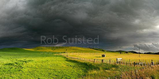 Dark moody stormy skies brewing above lush summer grass farmland in Central Hawke's Bay. Panorama, Dannevirke, Tararua District, Manawatu-Wanganui Region, New Zealand (NZ) stock photo.