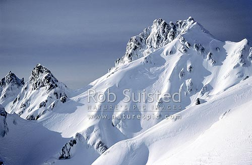 Pinnacle Ridge of Mount (Mt) Ruapehu, Tongariro National Park, Ruapehu District, Manawatu-Wanganui Region, New Zealand (NZ) stock photo.