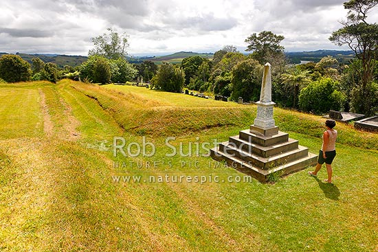 Alexandra Redoubt and memorial at Tuakau built by Colonel Wyatt and the 65th regiment in 1863 during the NZ wars, Tuakau, Franklin District, Waikato Region, New Zealand (NZ) stock photo.