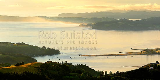 Omaha Beach and Bay. Whangateau Harbour entrance, Ti Point and Tawharanui Peninsula at left with Kawau Island beyond, at dawn, Leigh, Rodney District, Auckland Region, New Zealand (NZ) stock photo.