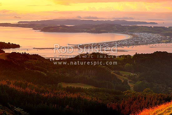 Omaha Beach and Bay. Tawharanui Peninsula and Ti Point left, Whangateau Harbour right, and Kawau Island beyond, at dawn, Leigh, Rodney District, Auckland Region, New Zealand (NZ) stock photo.