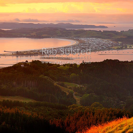 Omaha Beach and Whangateau Harbour. Hauraki Gulf and Kawau Island beyond. Dawn. Square format, Leigh, Rodney District, Auckland Region, New Zealand (NZ) stock photo.