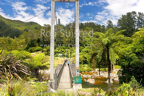 Historic Karangahake Goldfields ruins and walking tracks, with visitors crossing the Waitawheta Gorge bridge, Karangahake, Hauraki District, Waikato Region, New Zealand (NZ) stock photo.