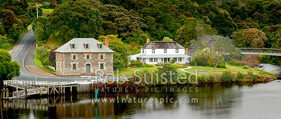 Historic Stone Store (1832) and Mission Station Kemp House (1821) by the Kerikeri Inlet Basin. Panorama, Kerikeri, Far North District, Northland Region, New Zealand (NZ) stock photo.