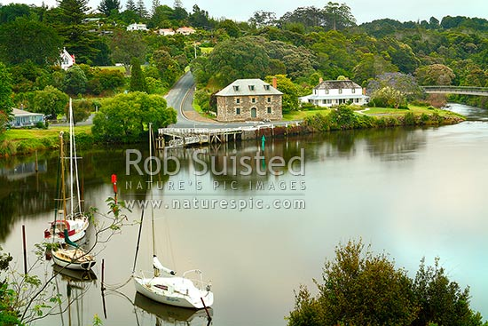 Historic Stone Store (1832), Mission Station Kemp House (1821) and St James' Church #1878 - obscured# by the Kerikeri Inlet Basin, Kerikeri, Far North District, Northland Region, New Zealand (NZ) stock photo.