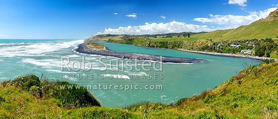 Awakino River Mouth and sand bar. Panorama, Awakino, Waitomo District, Waikato Region, New Zealand (NZ) stock photo.