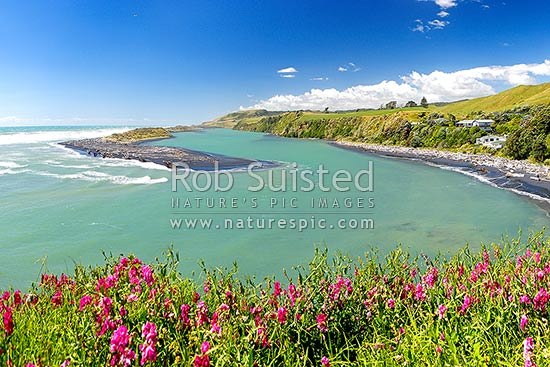 Awakino River Mouth, Heads, and sand bar, Awakino, Waitomo District, Waikato Region, New Zealand (NZ) stock photo.