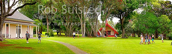 The Treaty House (1834 - left) and Te Whare Runanga (1940 - centre right) at the Waitangi Treaty Grounds. Te Tiriti o Waitangi. Panorama, Paihia, Bay of Islands, Far North District, Northland Region, New Zealand (NZ) stock photo.