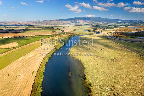 Lake Wairarapa wetlands and waterways. Boggy Pond Lagoon far right. Aorangi Ranges beyond. Aerial photo, Martinborough, South Wairarapa District, Wellington Region, New Zealand (NZ) stock photo.