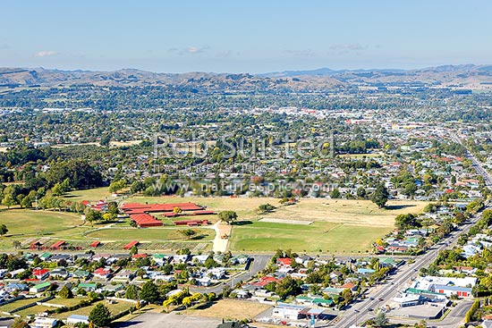 Masterton aerial view with suburbs centre race course and saleyards