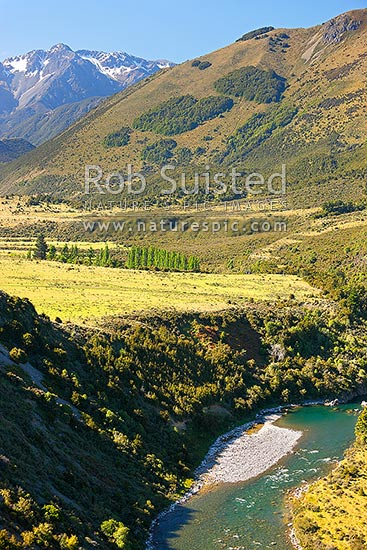 Hurunui River below Lake Sumner. Glynn Wye Range and Mt Longfellow (1900m) above, Lake Sumner, Hurunui District, Canterbury Region, New Zealand (NZ) stock photo.