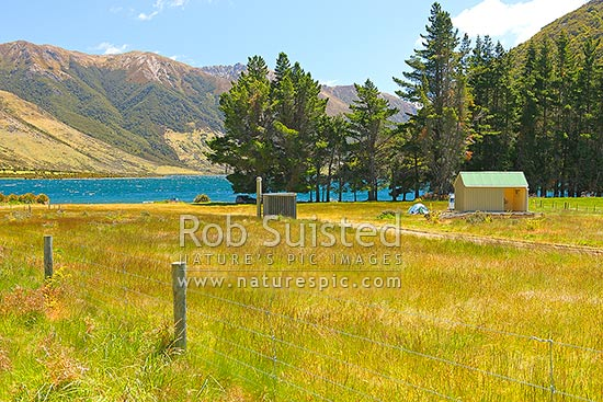 Lake Taylor and DOC camping ground. Lake Sumner Forest Park, Lake Sumner, Hurunui District, Canterbury Region, New Zealand (NZ) stock photo.