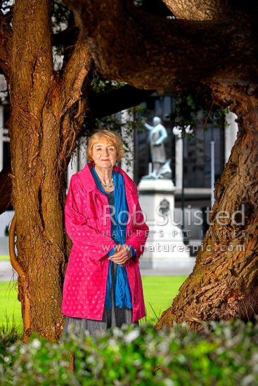 Dr Jan Wright, Parliamentary Commissioner for the Environment, portrait at Parliament, Wellington, Wellington City District, Wellington Region, New Zealand (NZ) stock photo.