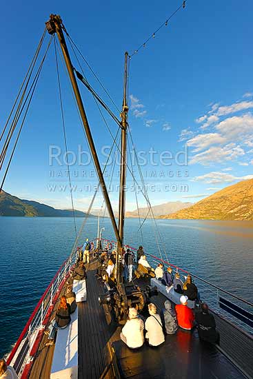TSS Earnslaw, an historic steamship carrying tourists on Lake Wakatipu. Queenstown in distance. Evening light, Queenstown, Queenstown Lakes District, Otago Region, New Zealand (NZ) stock photo.