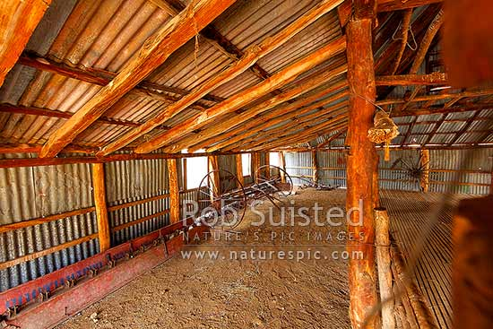 Quail Flat historic barn or shed interior at the historic complex dating from the 1860's. Ka Whata Tu o Rakihouia Conservation Park and Muzzle Station, Clarence Reserve, Kaikoura District, Canterbury Region, New Zealand (NZ) stock photo.