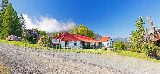 Tophouse Accommodation House, historic 1887 cob building, site of the 1894 Tophouse Tragedy, and now boutique accommodation. Panorama, St Arnaud, Tasman District, Tasman Region, New Zealand (NZ) stock photo.