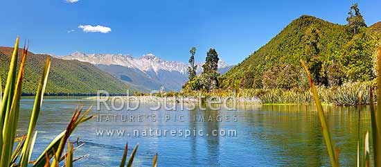 Lake Rotoroa and the Gowan River. Travers Range in distance. Panorama, Nelson Lakes National Park, Tasman District, Tasman Region, New Zealand (NZ) stock photo.