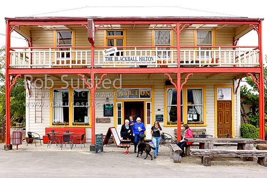 Formerly The Blackball Hilton, an historic hotel and bar was founded in 1910 as the Dominion Hotel, Blackball, Grey District, West Coast Region, New Zealand (NZ) stock photo.