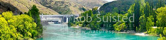 Clyde Dam panorama, NZ's third largest hydroelectric dam, on the Clutha River / Mata-Au, Clyde, Central Otago District, Otago Region, New Zealand (NZ) stock photo.
