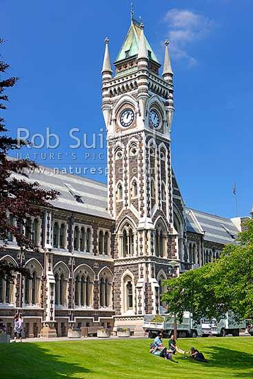 University Of Otago Registry Building Clock Tower Built In 1879 Part Complex Victorian Gothic Revival Buildings Dunedin City District