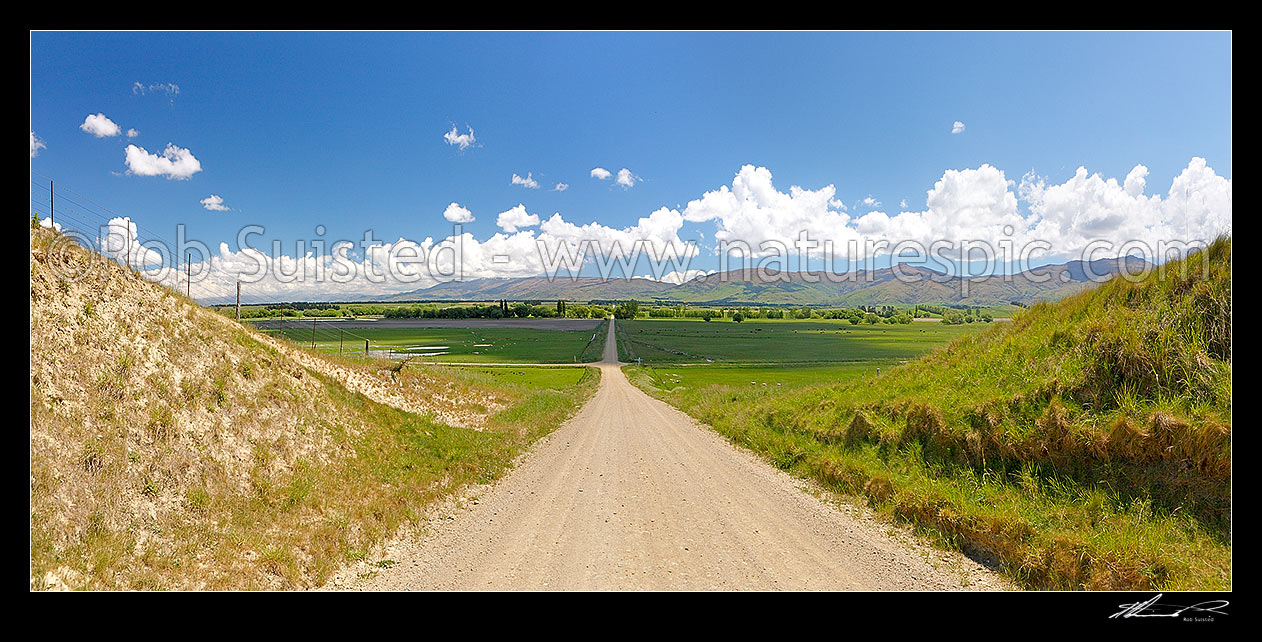 Image of Central Otago crossroads amongst lush farmland and grazing stock. Dunstan Mountains and Lauder Creek behind. Panorama, Becks, Central Otago District, Otago Region, New Zealand (NZ) stock photo image