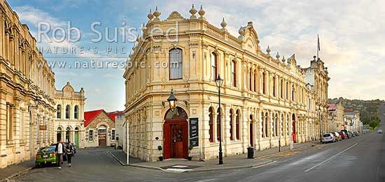 Heritage 1877 Criterion Hotel building on Tyne Street in the historic precinct. Oamaru Limestone. Panorama, Oamaru, Waitaki District, Canterbury Region, New Zealand (NZ) stock photo.