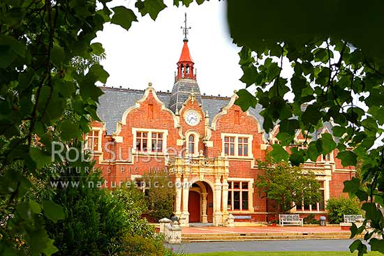 Ivey Hall at Lincoln University, historic building built in 1879, serves as a hub for Lincoln University, Lincoln, Selwyn District, Canterbury Region, New Zealand (NZ) stock photo.