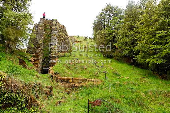 Staveley lime kilns, the 'Langdon kiln' was built in 1898 by William Langdon worked by the Springburn Lime and Coal company and operated until about 1911, Staveley, Ashburton District, Canterbury Region, New Zealand (NZ) stock photo.