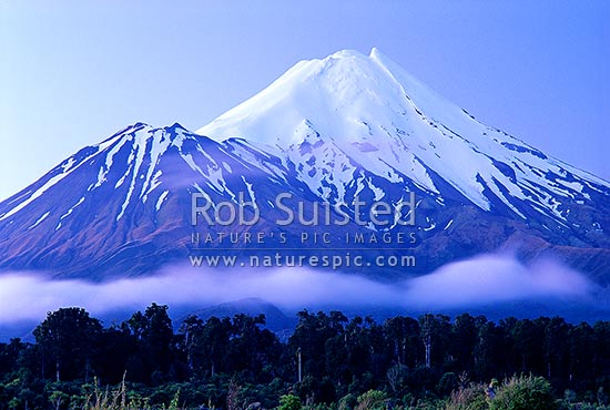 Mount Taranaki (Egmont) after dusk, Egmont National Park, Taranaki, Stratford District, Taranaki Region, New Zealand (NZ) stock photo.