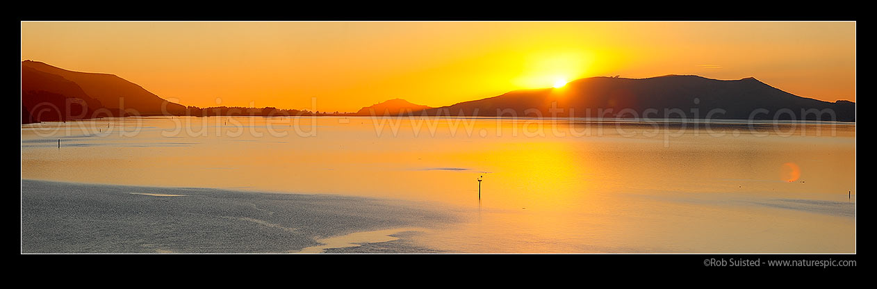 Image of Otago Harbour sunrise. Looking past Te Ngaru, towards Aramoana, The Spit, Taiaroa Head, Hautai Hill, and Harington Point. Panorama, Port Chalmers, Dunedin City District, Otago Region, New Zealand (NZ) stock photo image
