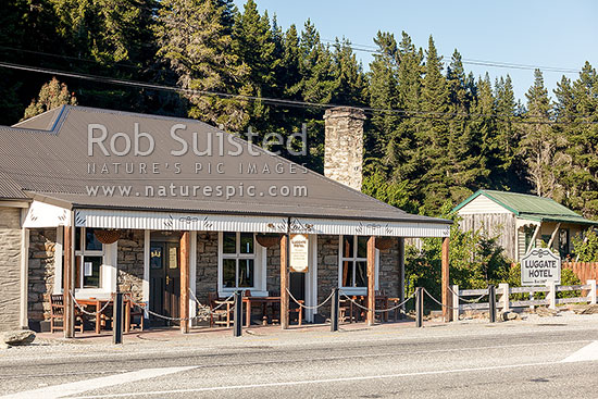 Luggate Hotel, an historic building dating from 1867, Luggate, Queenstown Lakes District, Otago Region, New Zealand (NZ) stock photo.