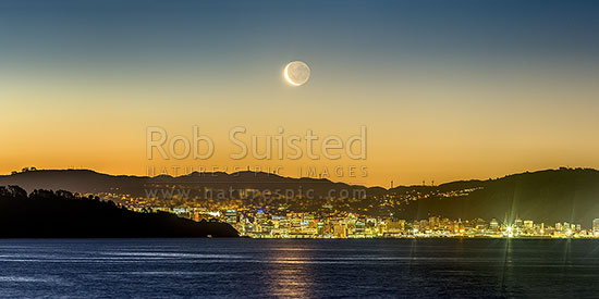 Wellington panorama with setting moon above the city. Seen from eastern harbour. Point Halswell centre, Project West Wind wind turbines above the CBD. Waning crescent moon phase, Wellington, Hutt City District, Wellington Region, New Zealand (NZ) stock photo.
